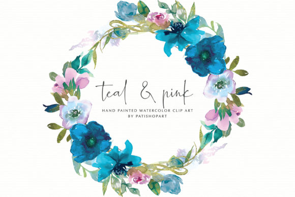 Teal and Pink Watercolor Floral Frames Graphic Illustrations By Patishop Art - Image 3