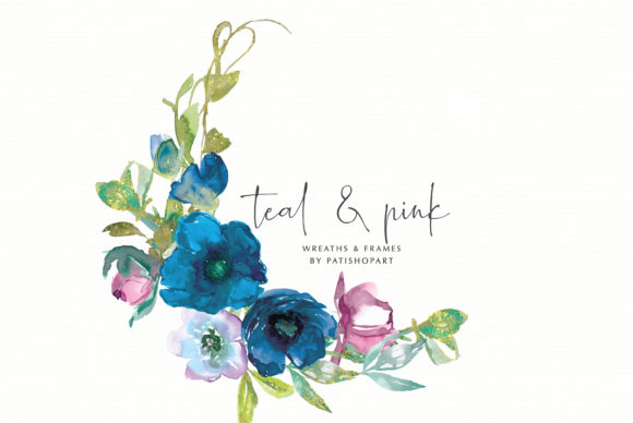 Teal and Pink Watercolor Floral Frames Graphic Illustrations By Patishop Art - Image 4