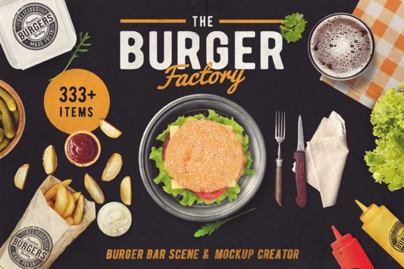 Download Free The Burger Bar Scene Generator Graphic By Relineo Creative for Cricut Explore, Silhouette and other cutting machines.