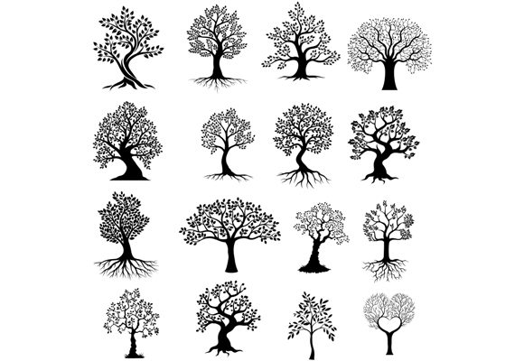 Tree Silhouettes Clip Art Set Graphic Graphic Illustrations By tigatelusiji