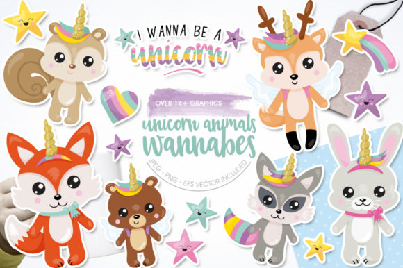 Download Free Unicorn Animals Wannabe Graphic By Prettygrafik Creative Fabrica for Cricut Explore, Silhouette and other cutting machines.