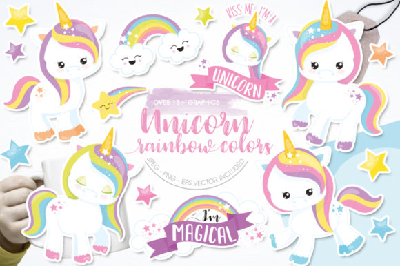 Print on Demand: Unicorn Rainbow Color Gráfico Ilustraciones Por Prettygrafik