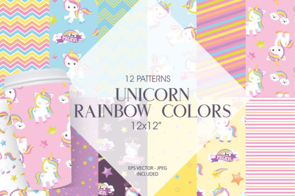 Print on Demand: Unicorn Rainbow Colors Graphic Patterns By Prettygrafik