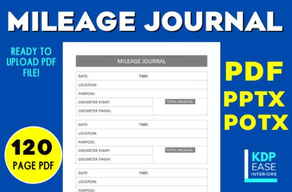 Print on Demand: Vehicle Mileage Journal / Logbook 6x9 Graphic KDP Interiors By KDP EASE