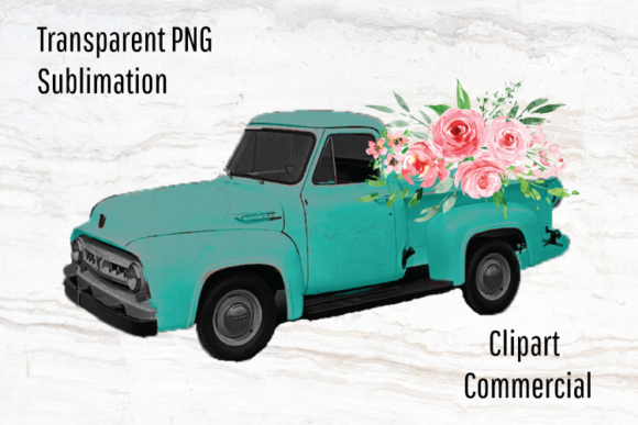 Print on Demand: Vintage Truck Clipart, Rustic Watercolor Graphic Illustrations By Blueberry Jam Design