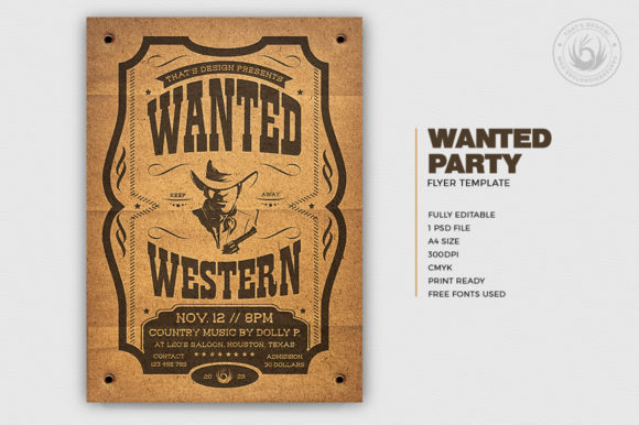 Download Free Wanted Western Party Flyer Template V2 Graphic By for Cricut Explore, Silhouette and other cutting machines.