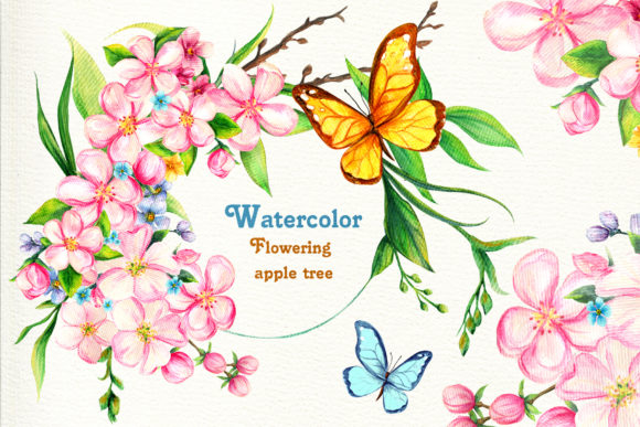 Watercolor Flowering Apple Tree Big Set Graphic Illustrations By ladymishka