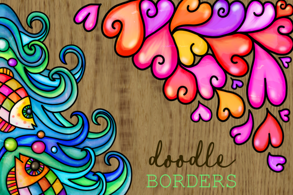 Print on Demand: Watercolor Folk Art Doodle Borders Set 2 Gráfico Fondos Por Prawny