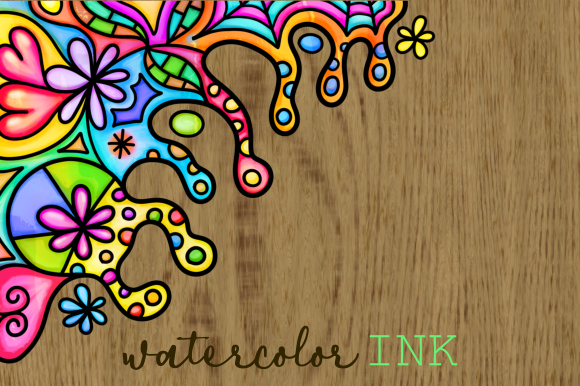 Print on Demand: Watercolor Folk Art Doodle Borders Set 2 Graphic Backgrounds By Prawny - Image 2