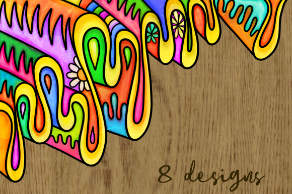 Print on Demand: Watercolor Folk Art Doodle Borders Set 2 Graphic Backgrounds By Prawny - Image 5