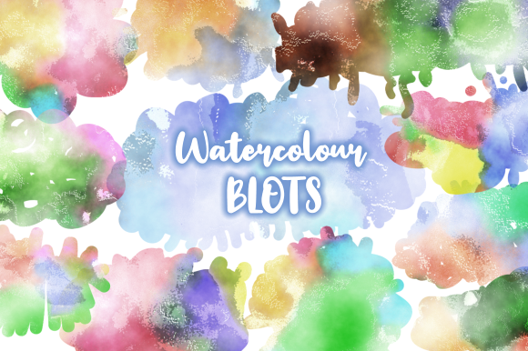 Print on Demand: Watercolor Ink Blots and Splashes Set 2 Graphic Backgrounds By Prawny