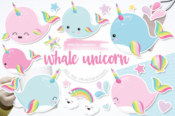 Print on Demand: Whale Unicorn Graphic Illustrations By Prettygrafik