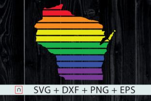Print on Demand: Wisconsin State-Map Rainbow-LGBT Pride Graphic Crafts By Novalia