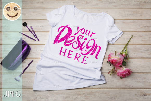 Print on Demand: Women's T-shirt Mockup Graphic Product Mockups By TasiPas