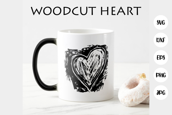 Print on Demand: Woodcut Love Heart Cut File Clipart Graphic Crafts By Prawny