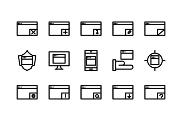 Download Free Applications Black And White Line Icon Graphic By Glyph for Cricut Explore, Silhouette and other cutting machines.