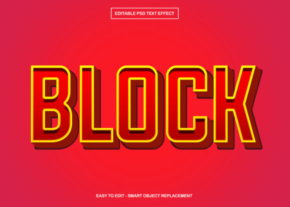 Block Text Effect Graphic Print Templates By knou