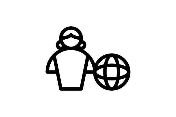 Download Free Global Black And White Line Icon Graphic By Glyph Faisalovers for Cricut Explore, Silhouette and other cutting machines.