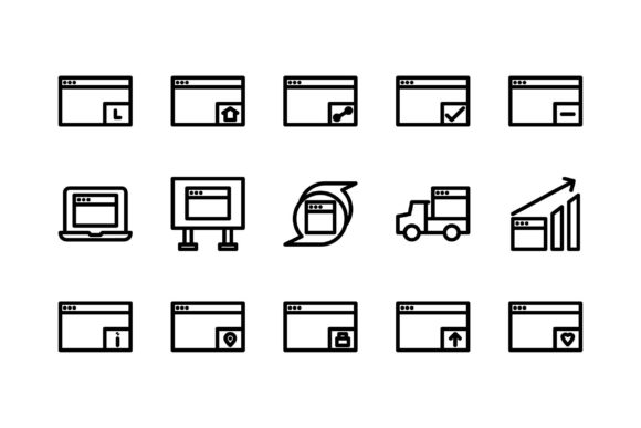 Download Free Windows Black And White Line Icon Graphic By Glyph Faisalovers for Cricut Explore, Silhouette and other cutting machines.