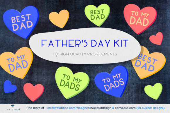 Print on Demand: 19 Father's Day Design Elements Cards Graphic Illustrations By Inkclouddesign