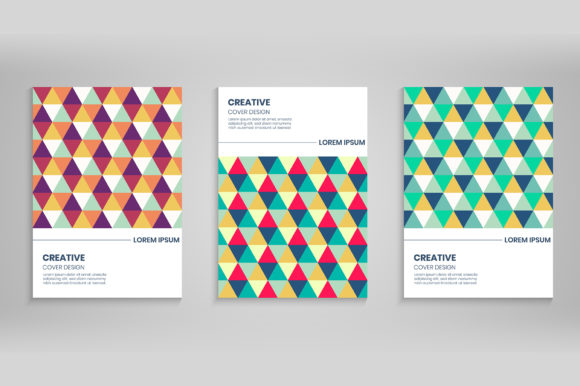 Abstract Colorful Triangle Cover Set Graphic Backgrounds By medelwardi