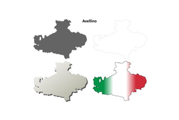 Download Free Avellino Outline Map Set Graphic By Davidzydd Creative Fabrica for Cricut Explore, Silhouette and other cutting machines.