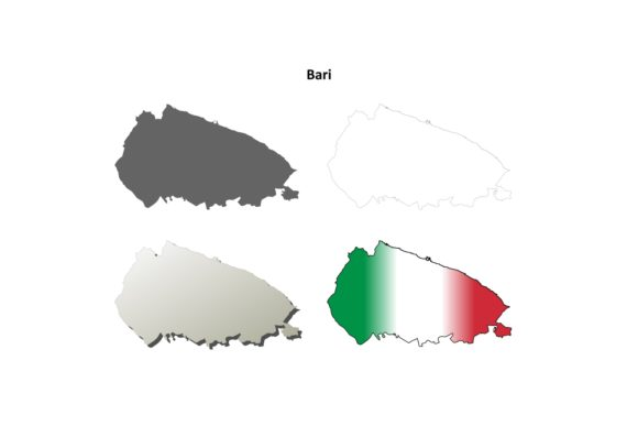 Download Free Bari Outline Map Set Graphic By Davidzydd Creative Fabrica for Cricut Explore, Silhouette and other cutting machines.