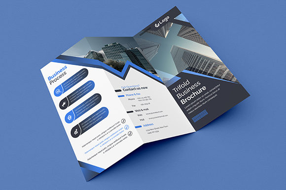 Download Free Blue Creative Trifold Brochure Design Graphic By Shahariaruix for Cricut Explore, Silhouette and other cutting machines.