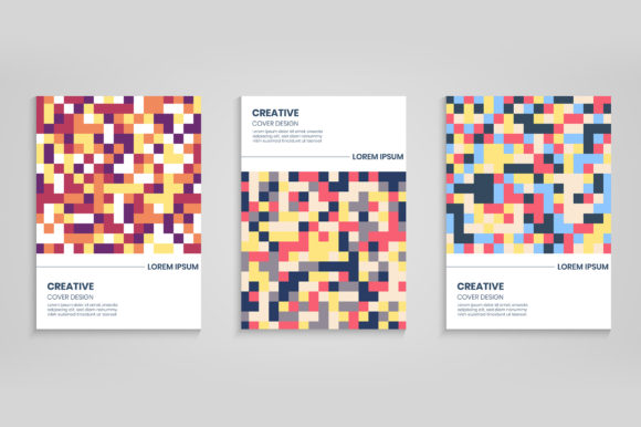 Cover Design with Colorful Pixels Graphic Backgrounds By medelwardi