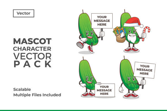 Download Free Cucumber Mascot Character Vector Graphic By Dendysign Creative for Cricut Explore, Silhouette and other cutting machines.