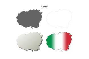 Download Free Cuneo Outline Map Set Graphic By Davidzydd Creative Fabrica SVG Cut Files