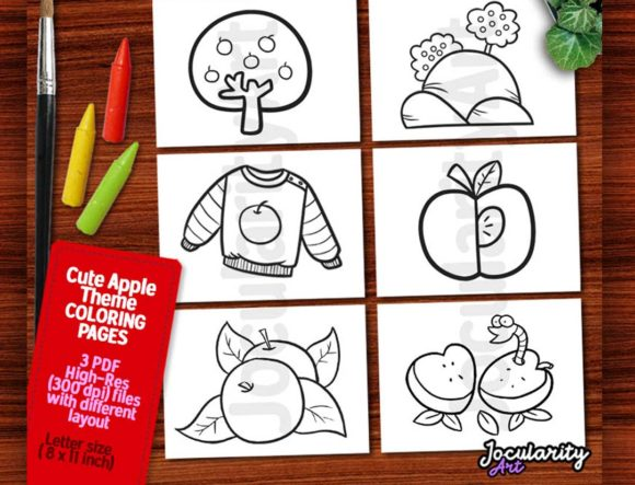 Download Free Cute Printable Apple Theme Coloring Page Graphic By for Cricut Explore, Silhouette and other cutting machines.