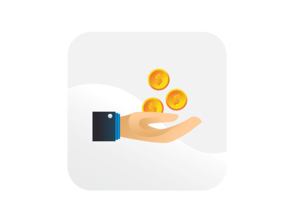 Download Free Dollar Coins And Hand Financial Icon Graphic By Samagata for Cricut Explore, Silhouette and other cutting machines.