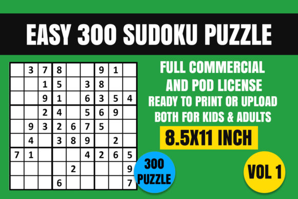 Print on Demand: Easy 300 Sudoku Puzzle Book Vol. 1 Graphic Coloring Pages & Books Kids By Creative_Design