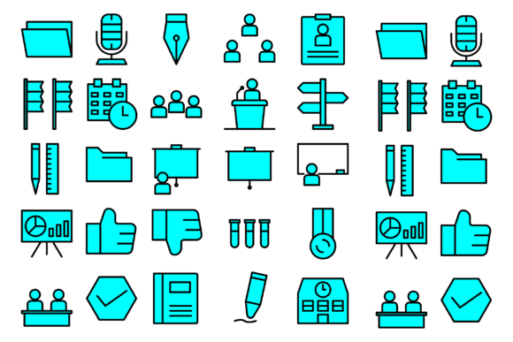 Education School Materials Graphic Icons By Designvector10
