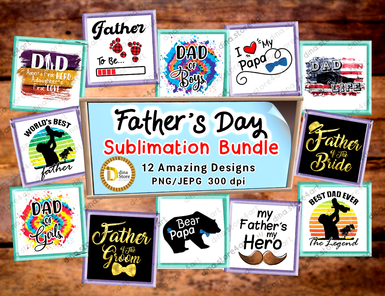 Download Free Father S Day Sublimation Bundle Graphic By Dina Store4art for Cricut Explore, Silhouette and other cutting machines.