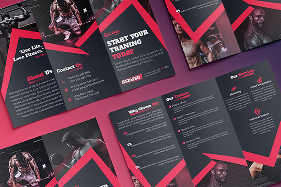 Download Free Fitness Gym Trifold Brochure Design Graphic By Shahariaruix for Cricut Explore, Silhouette and other cutting machines.
