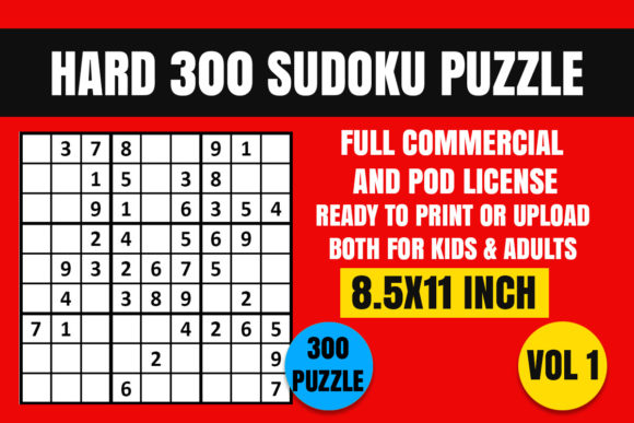 Print on Demand: Hard 300 Sudoku Puzzle Book Vol. 1 Graphic Coloring Pages & Books Adults By Creative_Design