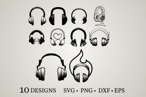 Download Free Headphone Bundle Graphic By Euphoria Design Creative Fabrica for Cricut Explore, Silhouette and other cutting machines.