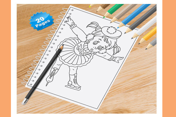 Download Free Ice Skating Colouring Pages Kids Skating Colouring Page A4 for Cricut Explore, Silhouette and other cutting machines.
