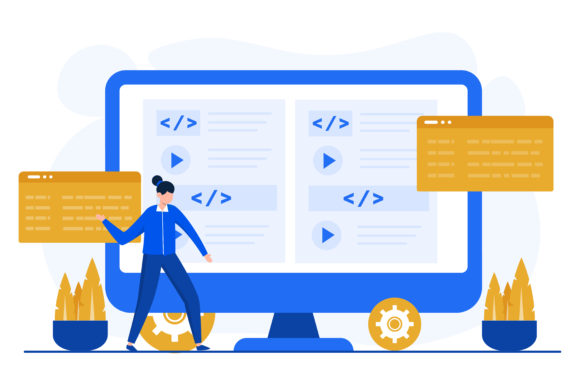 Illustration of Programming Graphic Illustrations By OKEVECTOR