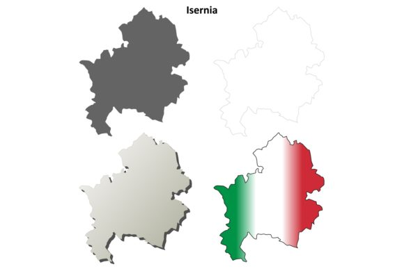 Download Free Isernia Outline Map Set Graphic By Davidzydd Creative Fabrica for Cricut Explore, Silhouette and other cutting machines.