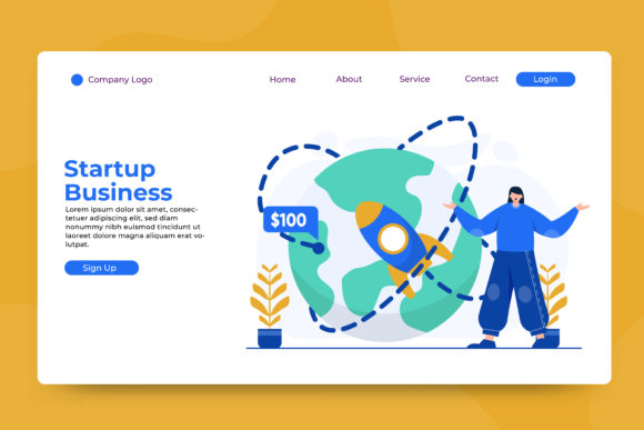 Landing Page Startup Business Graphic Landing Page Templates By OKEVECTOR