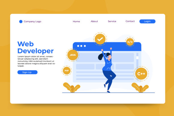 Landing Page Web Developer Graphic Landing Page Templates By OKEVECTOR
