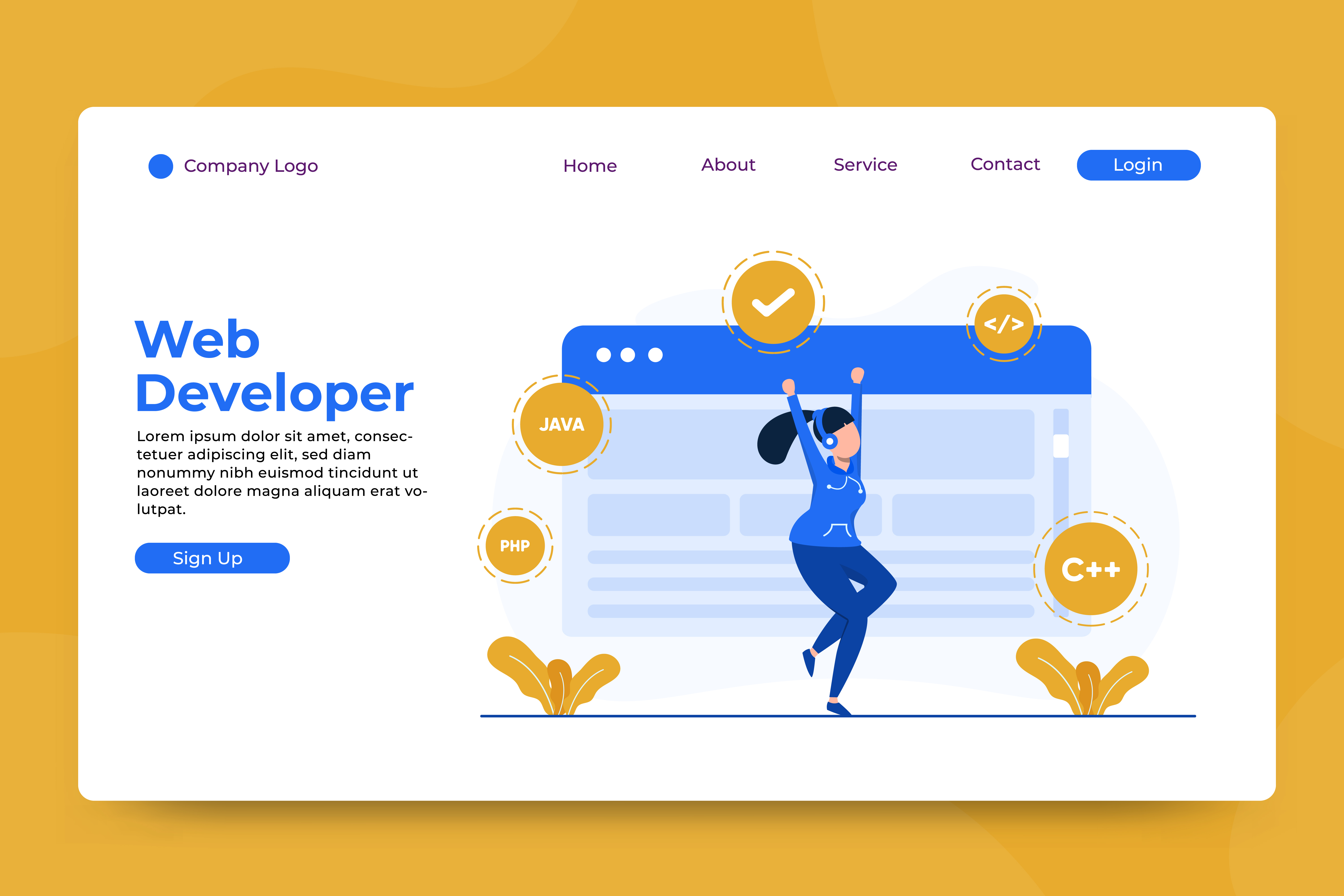 Download Free Landing Page Web Developer Graphic By Okevector Creative Fabrica for Cricut Explore, Silhouette and other cutting machines.