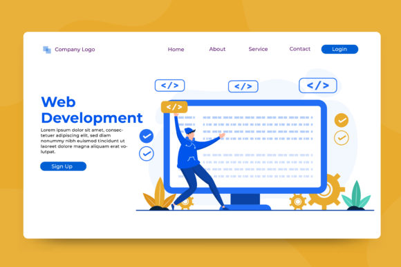Landing Page Web Development Graphic Landing Page Templates By OKEVECTOR