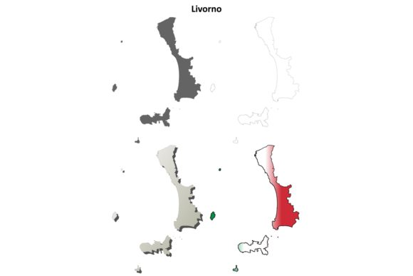 Download Free Livorno Outline Map Set Graphic By Davidzydd Creative Fabrica for Cricut Explore, Silhouette and other cutting machines.