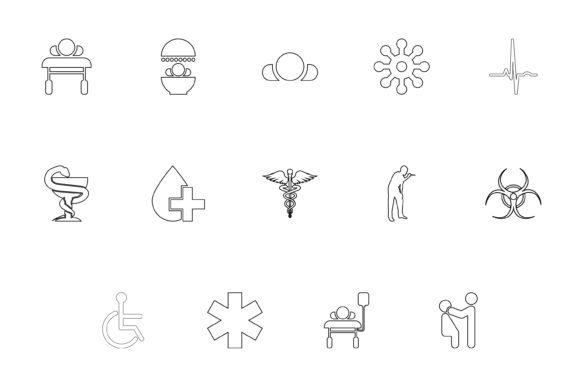 Download Free Medical Symbol Treatment Concept Outline Black Color Set Solid for Cricut Explore, Silhouette and other cutting machines.