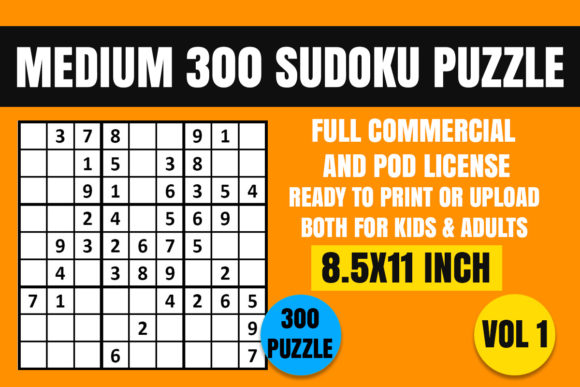 Print on Demand: Medium 300 Sudoku Puzzle Book Vol. 1 Graphic Coloring Pages & Books Adults By Creative_Design