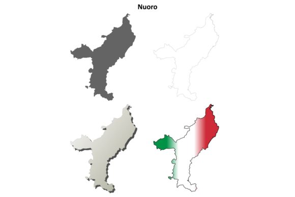 Download Free Nuoro Outline Map Set Graphic By Davidzydd Creative Fabrica for Cricut Explore, Silhouette and other cutting machines.
